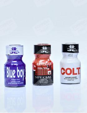 Pack de 3 poppers Lockerroom en flacons de 10 ml : Blue Boy, Amsterdam Special, Colt Lockerroom