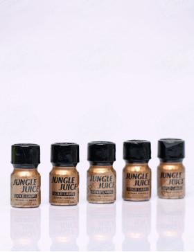 pack de cinq flacons de poppers jungle juice gold label 10 ml