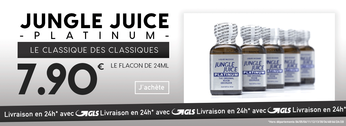 Poppers Jungle Juice Platinum : 7,90€ le flacon de 24ml